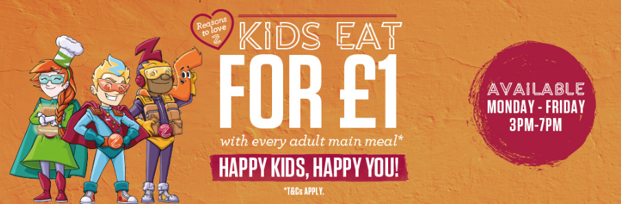 Kids Eat for £1 or free Sizzling Pubs