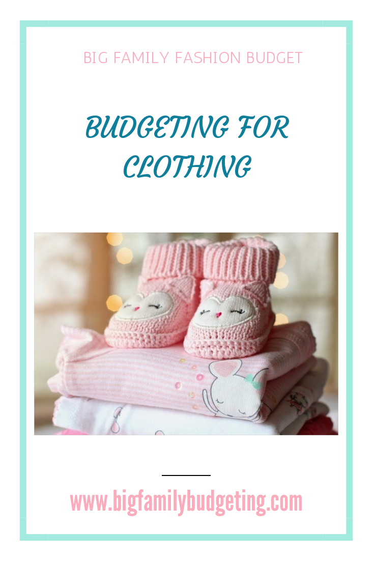 A large family can be expensive, but one way to save money is to look at ways to budget with clothing, consider charity shops, second hand clothing, saving baby clothes for the next baby, lots of different ways to save money, click through to find out how to budget for clothing.